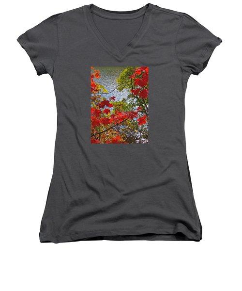 Autumn Lake Women's V-Neck T-Shirt (Junior Cut) by Ann Horn