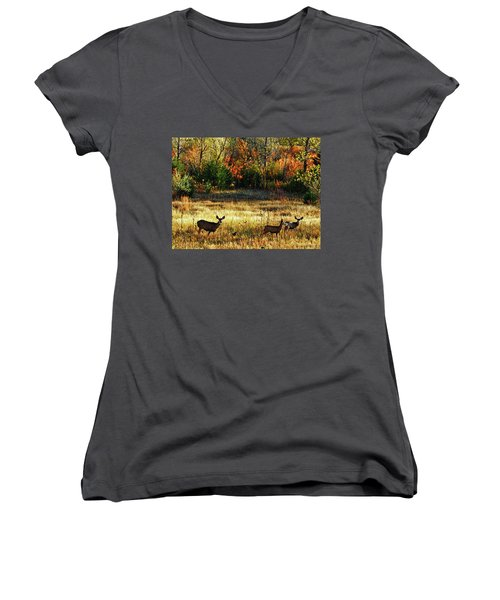 Deer Autumn Women's V-Neck (Athletic Fit)