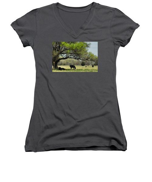Women's V-Neck T-Shirt (Junior Cut) featuring the photograph Shady Rest by Bill Kesler