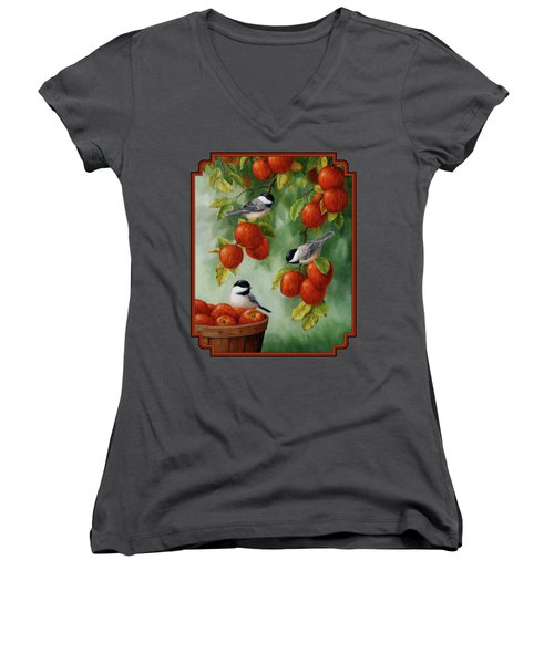 Bird Painting - Apple Harvest Chickadees Women's V-Neck T-Shirt