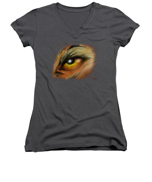 Eye Of The Beast Women's V-Neck T-Shirt (Junior Cut) by Kevin Middleton
