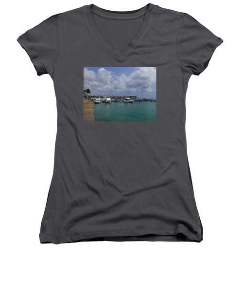 Women's V-Neck T-Shirt (Junior Cut) featuring the photograph Aruba Marina by Lois Lepisto