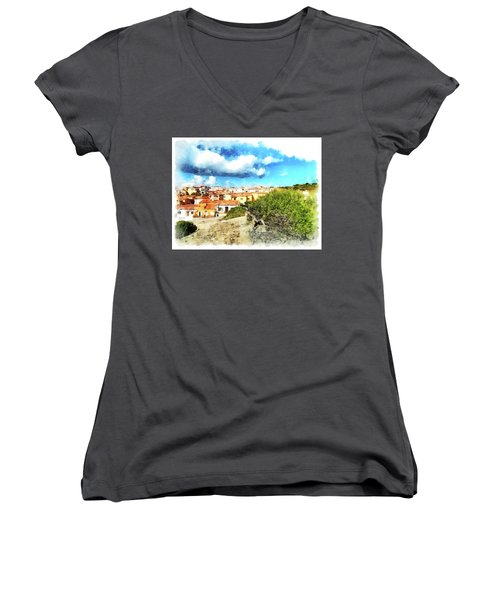 Arzachena Landscape With Clouds Women's V-Neck T-Shirt
