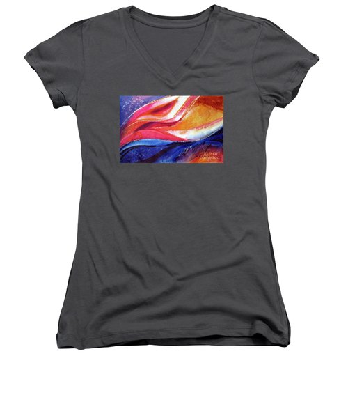 Women's V-Neck T-Shirt (Junior Cut) featuring the painting As I Bloom by Kathy Braud