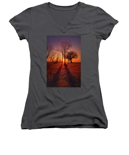Women's V-Neck T-Shirt (Junior Cut) featuring the photograph As Sure As The Sun Will Rise by Phil Koch