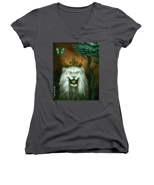 Women's V-Neck T-Shirt (Junior Cut) featuring the painting As The Lion Laughs by Leah Saulnier The Painting Maniac
