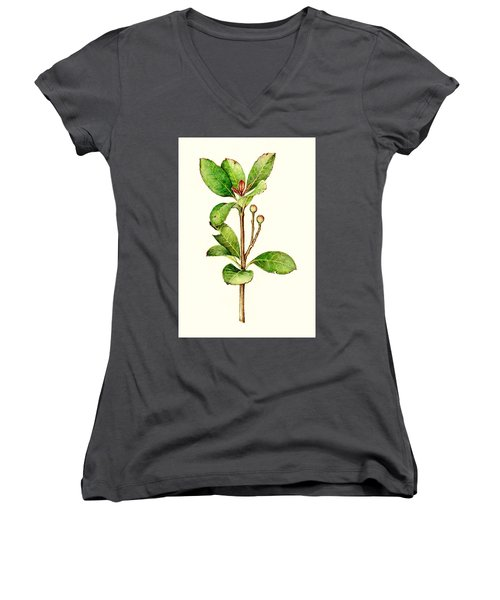 Women's V-Neck T-Shirt (Junior Cut) featuring the painting As The Twig Is Bent The Tree Inclines. by Heidi Kriel