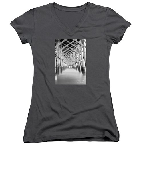 As The Water Fades Grayscale Women's V-Neck T-Shirt (Junior Cut) by Jennifer White