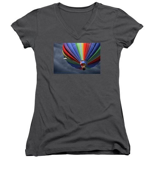 Women's V-Neck T-Shirt (Junior Cut) featuring the photograph Ascending To The Storm by Marie Leslie
