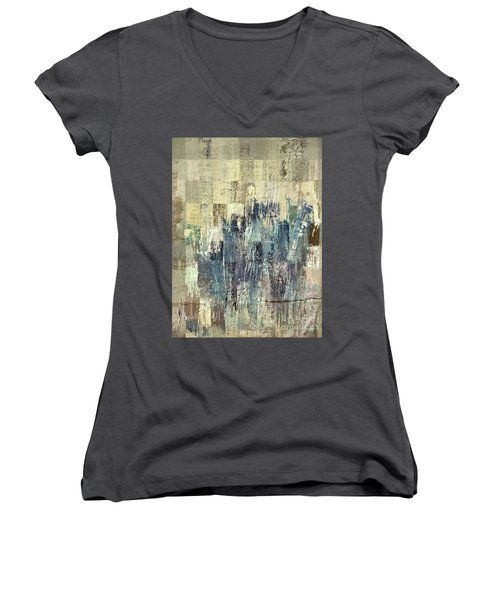 Women's V-Neck T-Shirt (Junior Cut) featuring the painting Ascension - C03xt-159at2b by Variance Collections
