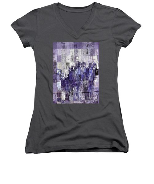 Women's V-Neck T-Shirt (Junior Cut) featuring the painting Ascension - C03xt-166at2c by Variance Collections