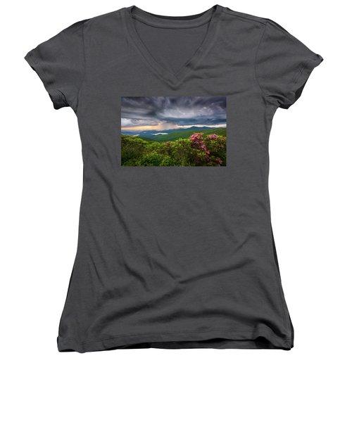Asheville North Carolina Blue Ridge Parkway Thunderstorm Scenic Mountains Landscape Photography Women's V-Neck