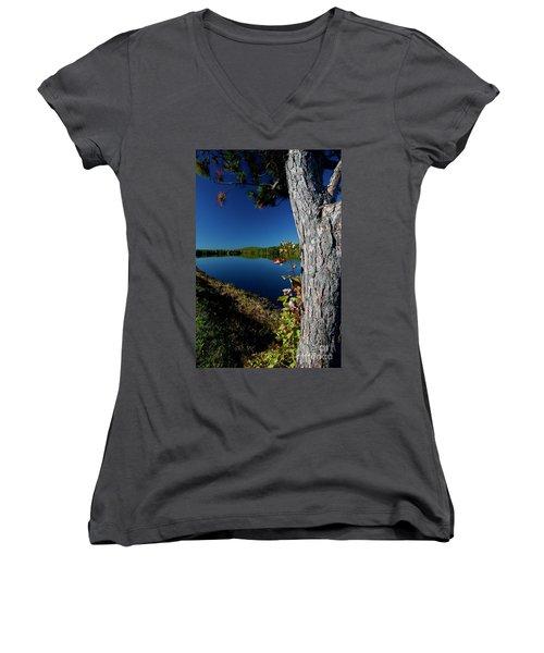 Ashley Reservoir Women's V-Neck T-Shirt (Junior Cut) by Jim Gillen