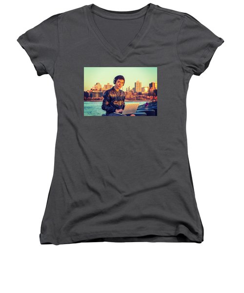 Asian American College Student Traveling, Studying In New York Women's V-Neck (Athletic Fit)