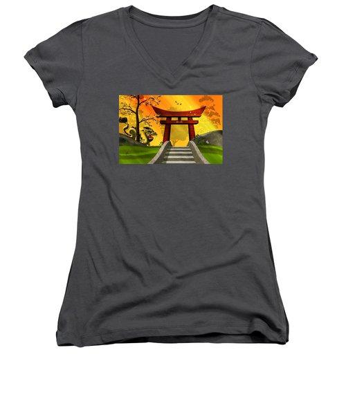 Asian Art Chinese Landscape  Women's V-Neck T-Shirt (Junior Cut) by John Wills