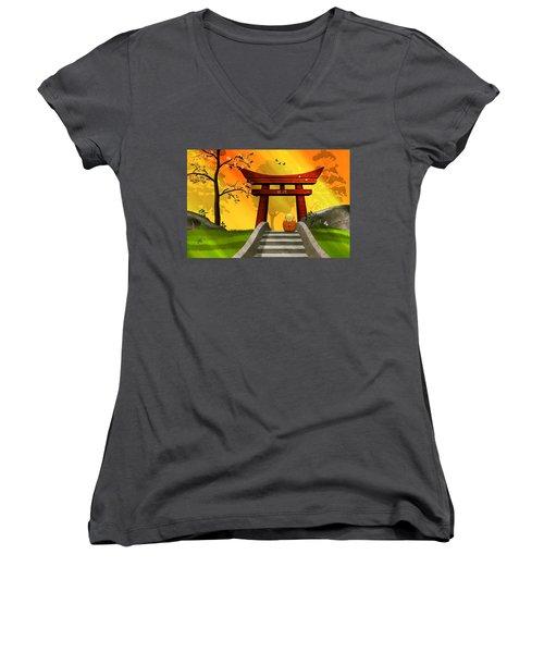 Asian Art Chinese Spring Women's V-Neck T-Shirt (Junior Cut) by John Wills