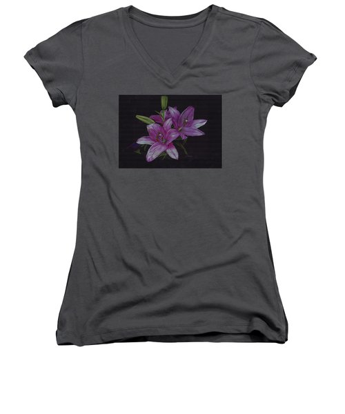 Asian Lillies Women's V-Neck (Athletic Fit)