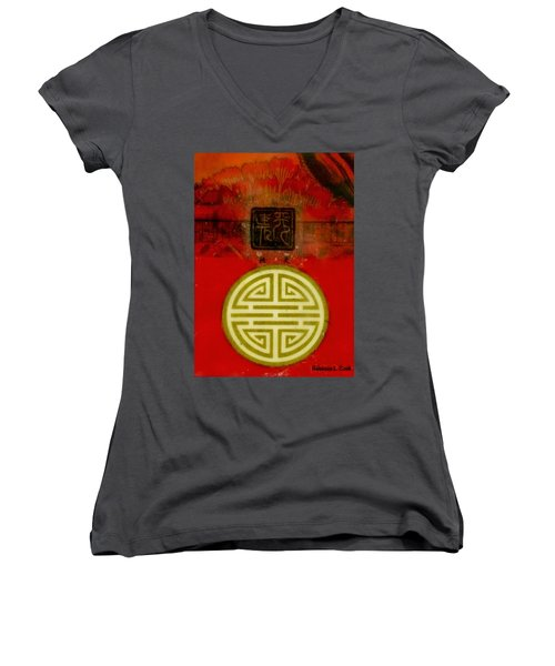 Asian Red Encaustic Women's V-Neck T-Shirt (Junior Cut) by Bellesouth Studio