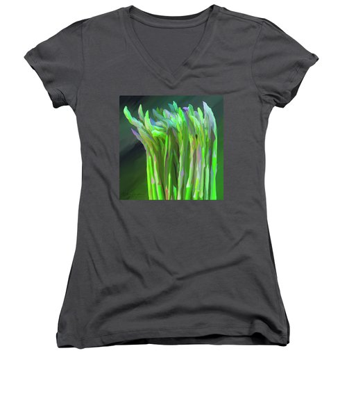 Asparagus Study 01 Women's V-Neck T-Shirt (Junior Cut) by Wally Hampton