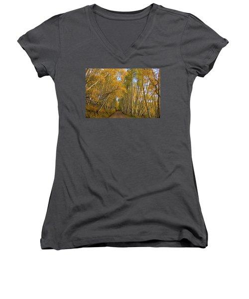Women's V-Neck T-Shirt (Junior Cut) featuring the photograph Aspen Alley by Steve Stuller
