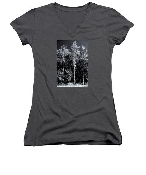 Aspen Drama Women's V-Neck T-Shirt (Junior Cut) by Shelly Gunderson