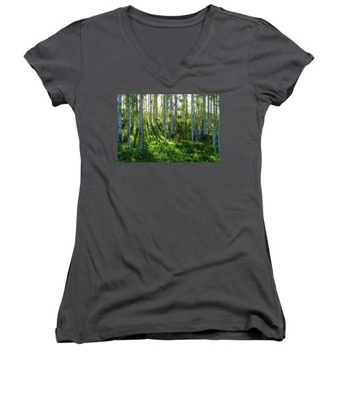 Women's V-Neck T-Shirt (Junior Cut) featuring the photograph Aspen Morning 1 by Marie Leslie