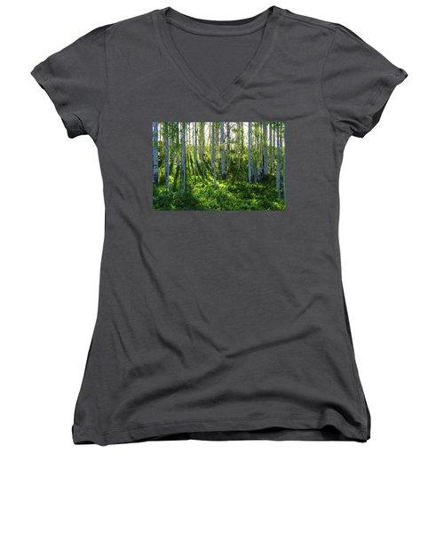 Women's V-Neck T-Shirt (Junior Cut) featuring the photograph Aspen Morning 1 by Marie Leslie