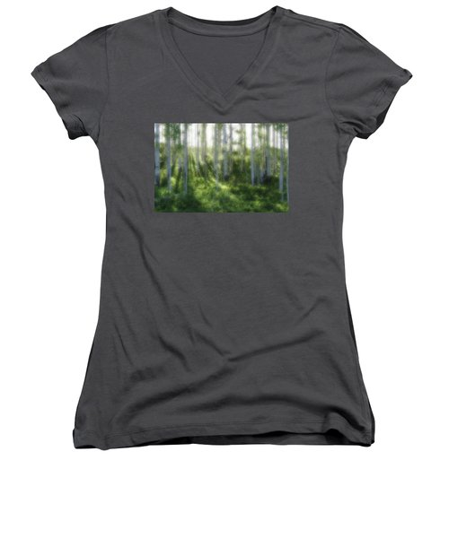 Women's V-Neck T-Shirt (Junior Cut) featuring the photograph Aspen Morning 2 by Marie Leslie