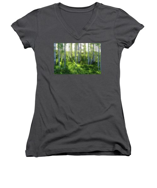 Women's V-Neck T-Shirt (Junior Cut) featuring the photograph Aspen Morning 3 by Marie Leslie