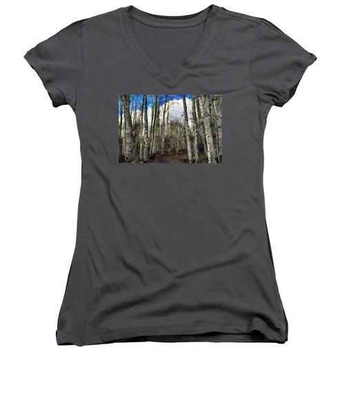 Aspen Standing Women's V-Neck T-Shirt (Junior Cut) by Jeff Kolker
