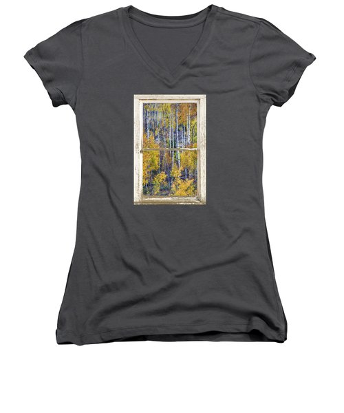 Aspen Tree Magic Cottonwood Pass White Farm House Window Art Women's V-Neck