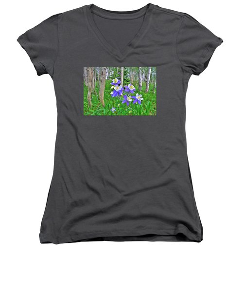 Aspens And Columbines Women's V-Neck T-Shirt (Junior Cut) by Scott Mahon