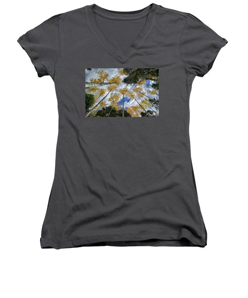 Women's V-Neck T-Shirt (Junior Cut) featuring the photograph Aspens Reaching by Kevin Munro