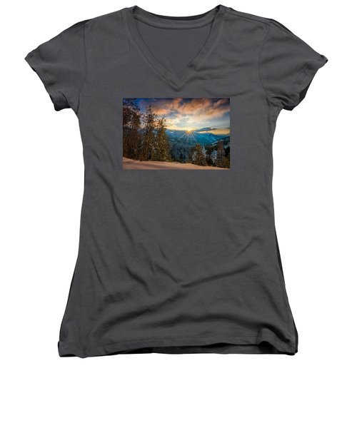 Aspens Sunset After Snowfall Women's V-Neck (Athletic Fit)