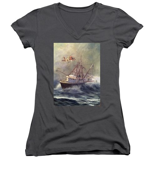 Women's V-Neck T-Shirt (Junior Cut) featuring the painting Assessment by Stephen Roberson