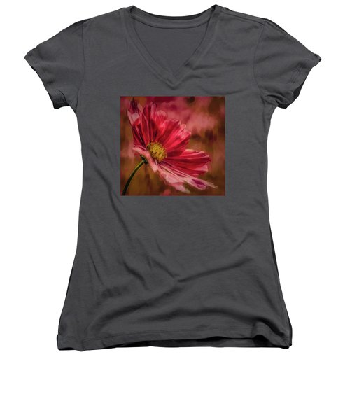 Aster Red Painterly #h1 Women's V-Neck