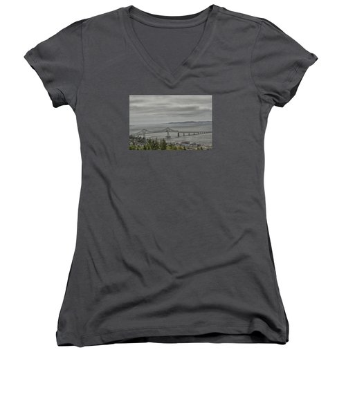 Women's V-Neck T-Shirt (Junior Cut) featuring the photograph Astoria, Gateway To Oregon by Tom Kelly