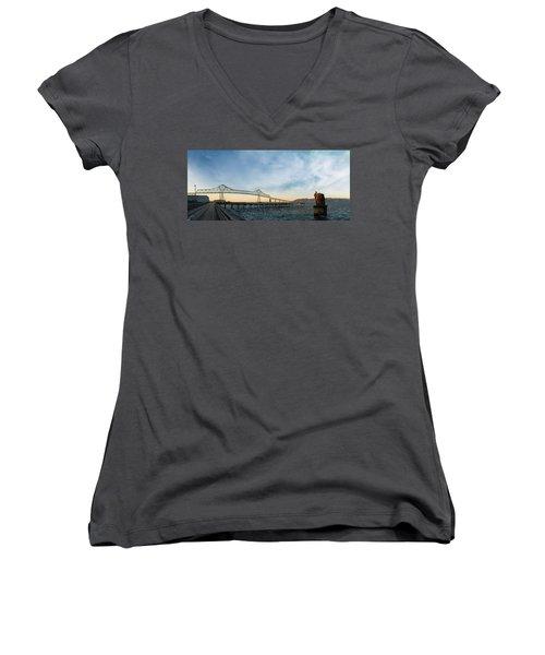 Astoria Megler Bridge By Riverwalk Panorama Women's V-Neck (Athletic Fit)
