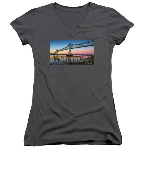 Astoria Megler Bridge Women's V-Neck (Athletic Fit)