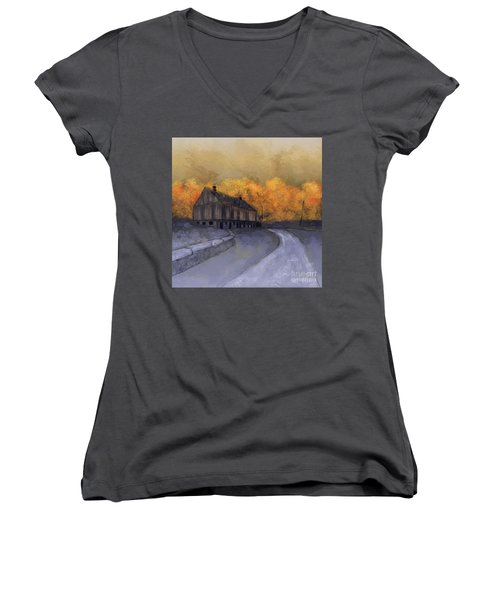 Women's V-Neck T-Shirt featuring the digital art At Just Dawn by Lois Bryan