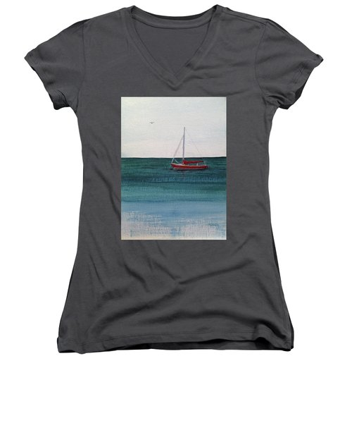 Women's V-Neck T-Shirt (Junior Cut) featuring the painting At Rest by Wendy Shoults