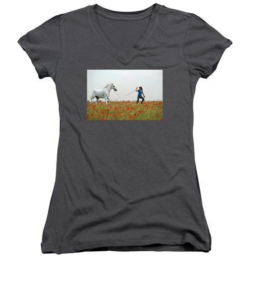 At The Poppies' Field... 2 Women's V-Neck T-Shirt