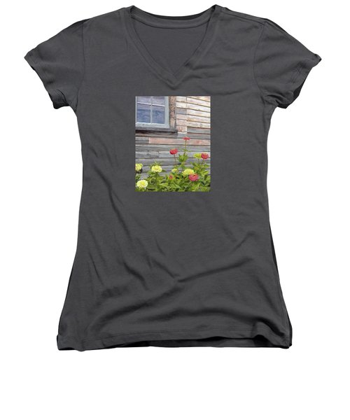 Women's V-Neck T-Shirt (Junior Cut) featuring the painting At The Shelburne by Lynne Reichhart
