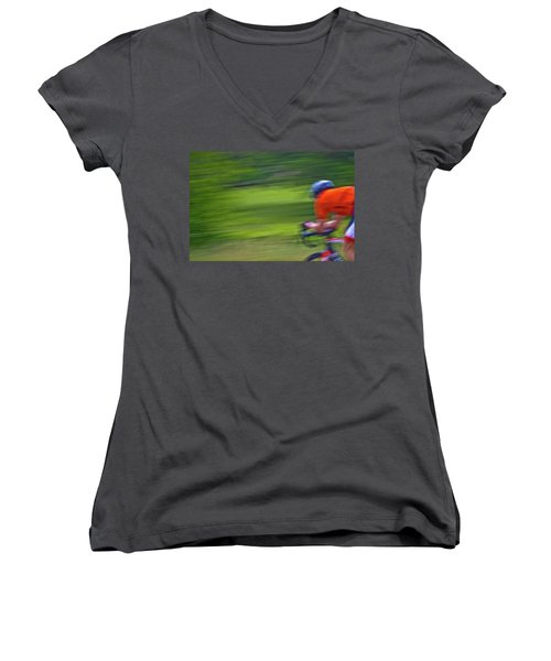 Women's V-Neck T-Shirt (Junior Cut) featuring the photograph At The Speed Of Light by Linda Unger