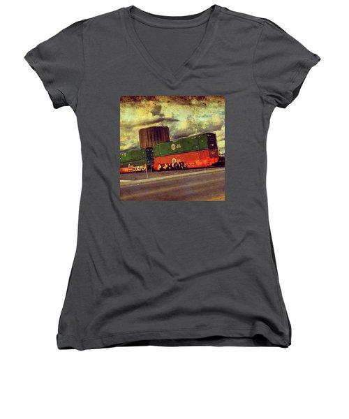 At The Train Crossing. Arizona  Women's V-Neck T-Shirt