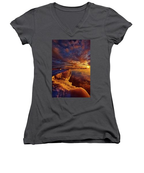 Women's V-Neck T-Shirt (Junior Cut) featuring the photograph At World's End by Phil Koch