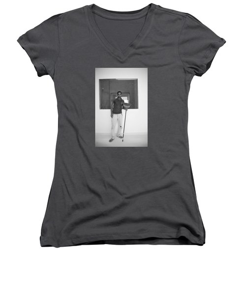 At Your Command Women's V-Neck T-Shirt (Junior Cut) by Jez C Self