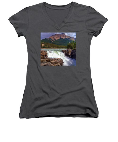 Athabasca Falls Women's V-Neck T-Shirt (Junior Cut) by Heather Vopni