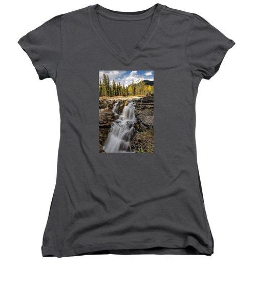 Athabasca Falls Women's V-Neck T-Shirt (Junior Cut) by John Gilbert