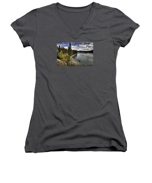 Athabasca River Women's V-Neck T-Shirt (Junior Cut) by John Gilbert